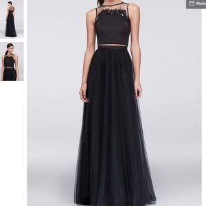 Cynthia Rowley two piece formal dress black tulle